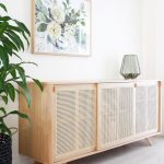 Long Rattan Wooden Cabinet, Wooden Wall Concrete Floor