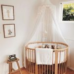 Nursery, White Wall, Wooden Round Crib, White Curtain,