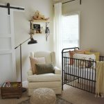 Nursery, Wooden Floor, Rug, Black Metal Fences, White Chair, White Wall, Slidign Wooden Door