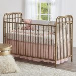 Nursery, Wooden Floor, White Wall, Golden Fences, Pink Bedding