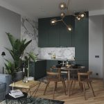Open Kitchen, Wooden Floor, Wooden Dining Set, White Marble Wall, Dark Green Smooth Cabinet, Grey Wall, Rug, Wooden Side Table, Grey Sofa