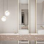 Pink Vanity, White Round Sinks, Tall Mirror, White Tiny Square Wall Tiles, White Pendants