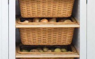 rattan basket, white cabinet, grey marble top