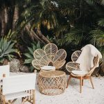 Rattan Chairs With Flowery Shape, Rattan Coffee Table,