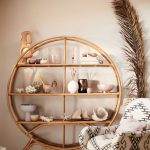 Rattan Round Shelves, Wooden Floor, White Rug, Cream Wall