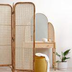 Rattan Screen, Wooden Table, Rattan Small Screen, Yellow Ottoman