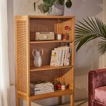 Rattan Wooden Shelves, Concrete Floor, Patterned Rug