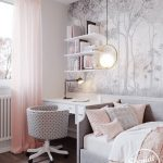 Small Bedroom, White Patterned Wallpaper, Wooden Floor, Grey Bed Platform, White Cushion, White Table, White Floating Shelves, Grey Polka Dot Round Chair