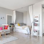 Small Bedroom, Wooden Floor, White Wall, White Curtain, White Bed, Grey Sofa,