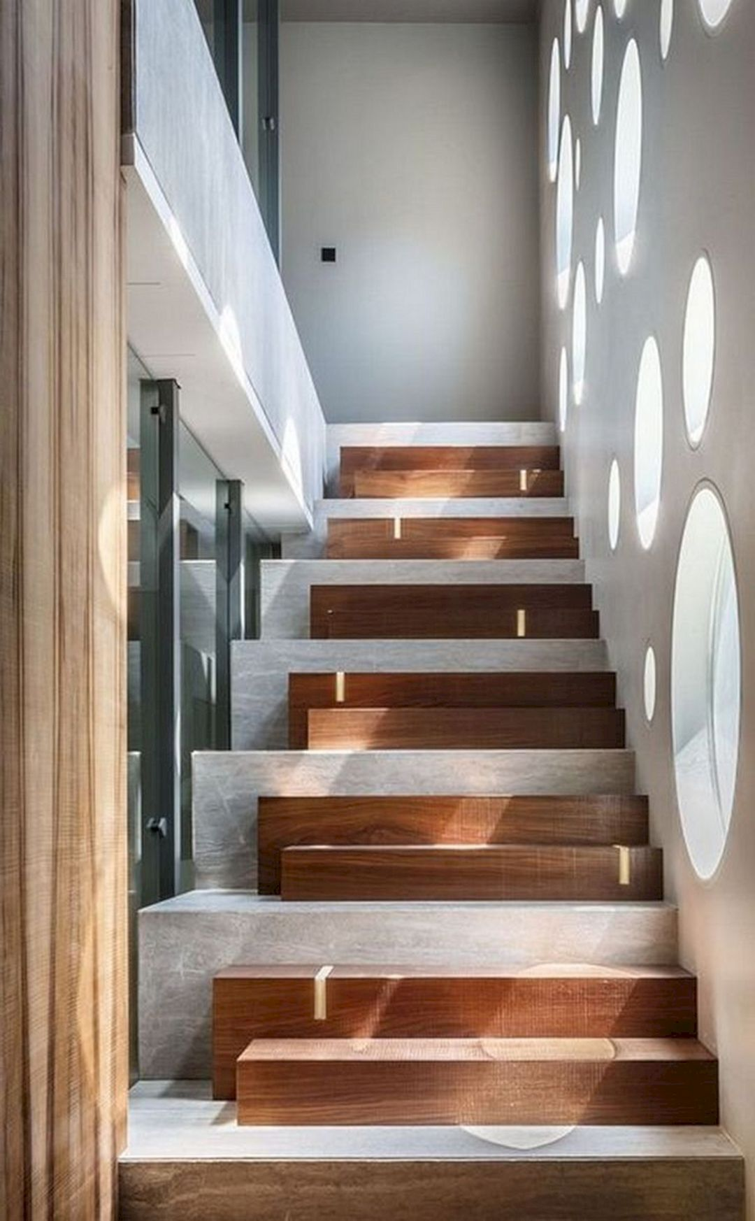 staircase, grey stairs, wooden blocks stair, round glass windows