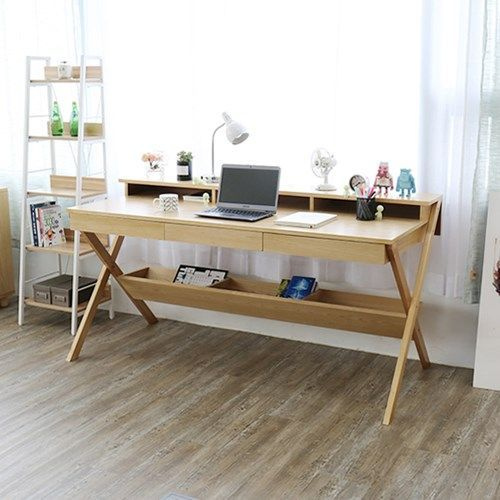 study room, wooden table, wooden floor, shelves, on top and under