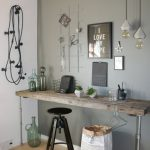 Wooden Table With Piep Legs, Wooden Floor, Grey Wall, Pendants, Black Stool