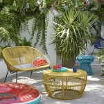 Yellow Rattan Sofa, Yellow Rattan Woven Coffee Table, Blue Rattan Stool, Grey Floor, Plants