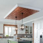 Accent Ceiling, Metal Patterned Ceiling, White Ceiling, Iron Round Pendants, White Kitchen Cabinet, Green Wooden Island