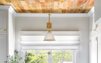 accent ceiling, wooden ceiling, ceiling lamps, white golden pendant, white wall, white backsplash, white kitchen cabinet