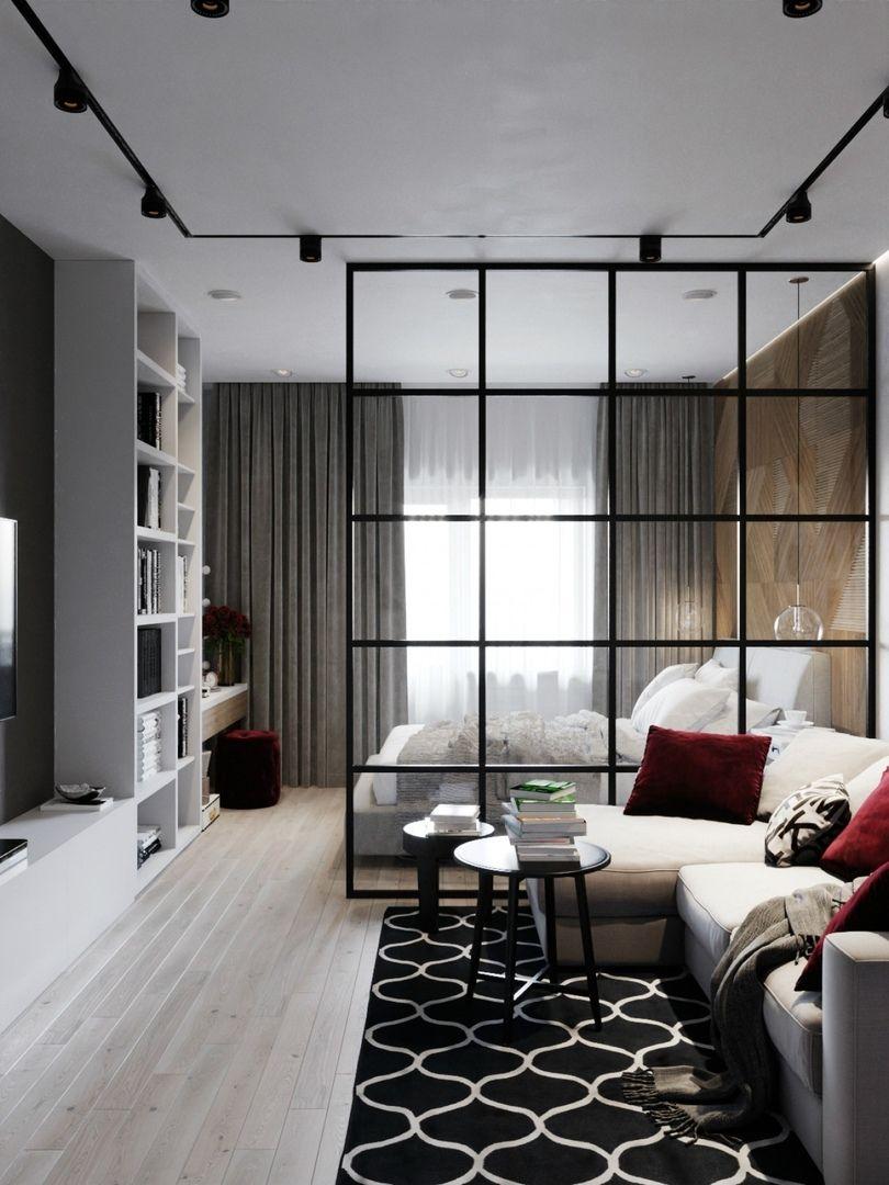 apartment, wooden floor, white ceiling, black rug, white bed, white shelves, white cabinet, white lounge sofa, black side table