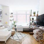 Apartment, Wooden Floor, White Wall, White Corner Sofa, White Bed, Ottoman, Window