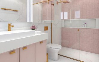 bathrom, white marble floor, pink wall, white marble wall, pink vanity, white vanity top