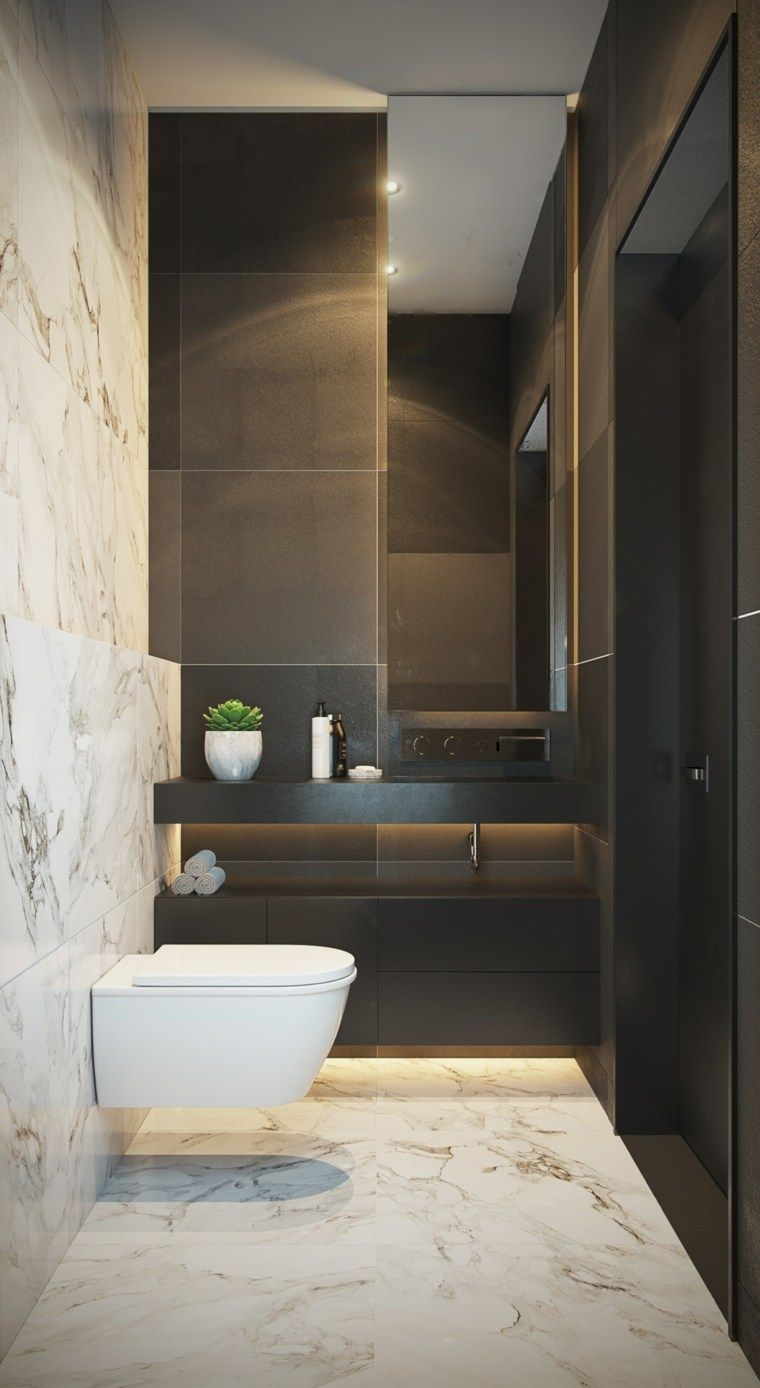 bathroom, black accent wall, black vanity, black shower, white floating toilet, white marble floor