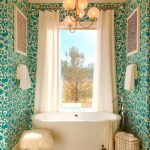 Bathroom, Brown Floor Tiles, Green Wallpaper, Modern Chandelier, White Tub, White Stool, White Curtain