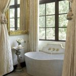 Bathroom, Brown Marble Floor, White Wall, Golden Mirror, White Tub, Golden Curtain