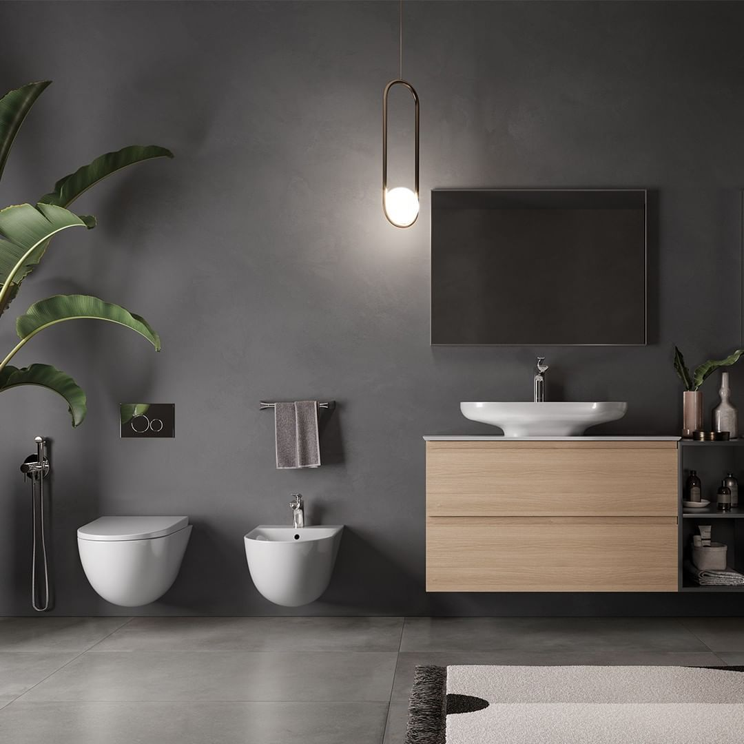 bathroom, grey floor, grey wall, pendant, white floating toilet and sink, wooden floating cabinet, whtie sink