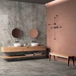 Bathroom, Grey Marble Floor And Wall, Cream Pink Wall, Round Mirrors Wooden Floating Cabinet