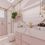 Bathroom, Pink Cabinet, White Marble Vanity, White Wall, Pink Hexagonal Wall Tiles, Round Mirror, Golden Lines