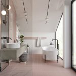Bathroom, Pink Floor Tiles, White Wall, Pink Wall, White Indented Shelves, Floating Grey Vanity, Vaulted Ceiling, White Tub