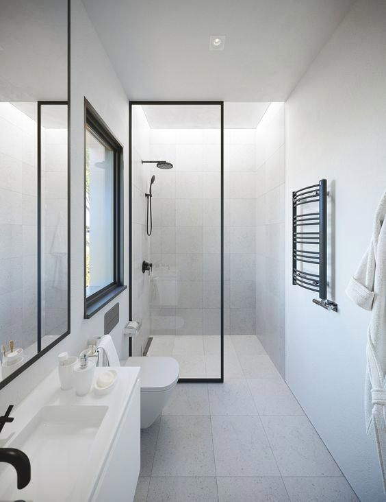 bathroom, white floor, white wall, white ceiling, white floating cabinet, white toilet, large glass window