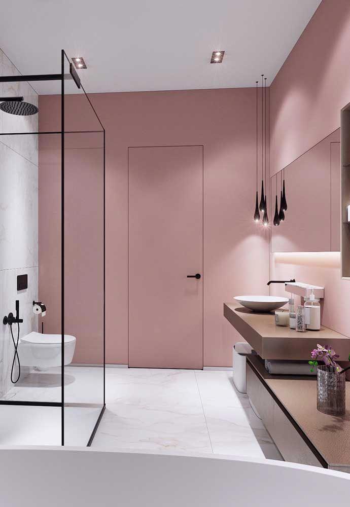 bathroom, white marble floor, pink wal, white wall, brown vanity