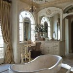 Bathroom, White Marble Floor, White Built In Cabinet, Large Carved Mirror, Chandelier, Curtain