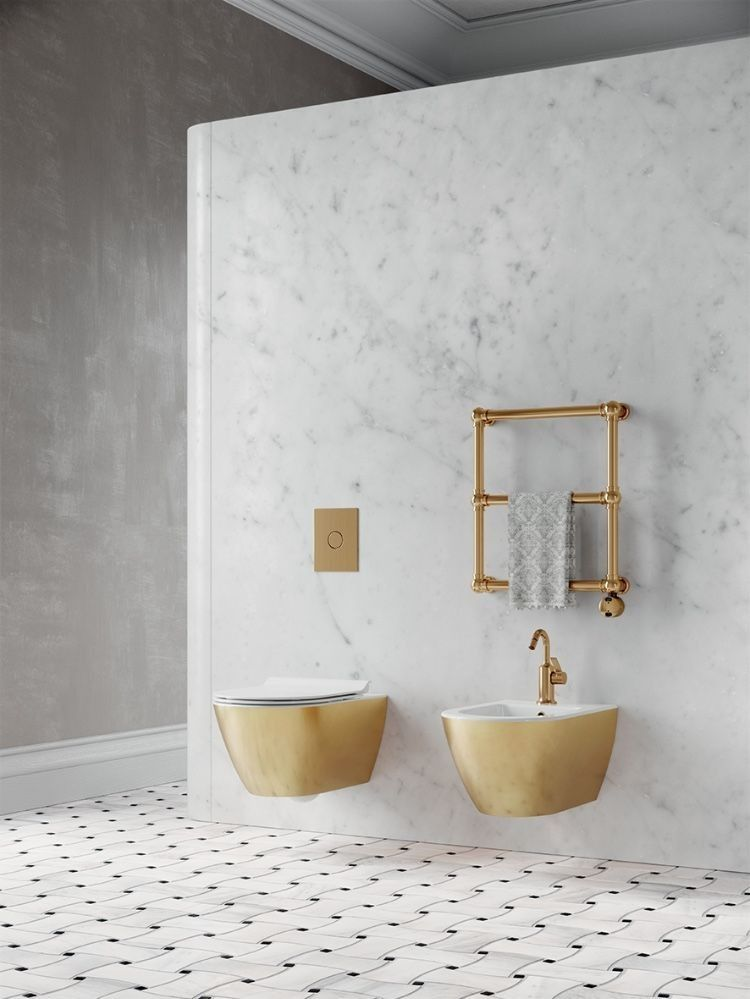 bathroom, white marble wall, golden floating toilet, golden floating sink, golden rod