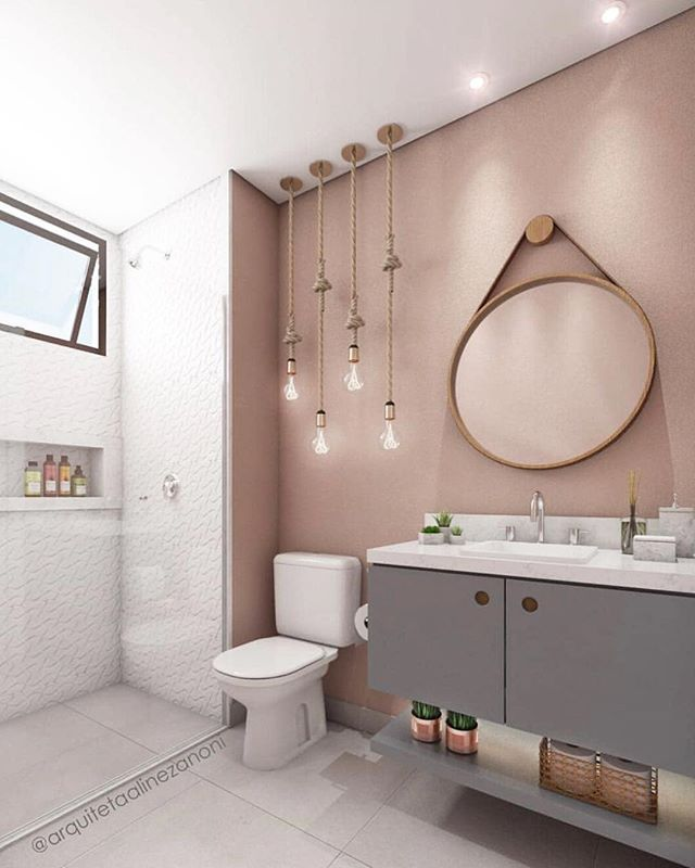 bathroom, white wall, pink wall, ruond mirror, grey floating vanity, white toilet, pendants