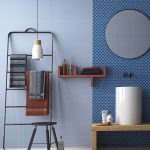 Bathroom, Wooden Floor, Blue Wall Tiles, Blue Accent Tiles, White Sink, Wooden Vanity, Black Rack, Pendant, Floating Shelves, Round Mirror
