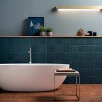 Bathroom, Wooden Floor, Greeen Accent Wall, Blue Wall, White Tub, Side Table