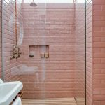 Bathroom, Wooden Floor, Pink Subway Wall Tiles, Shower, White Sink