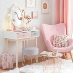 Beauty Room, Wooden Floor, White Wall, White Table With Pink Blue Drawer, Pink Chair, Grey Ottoman