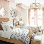 Bedroom, Dark Wooden Floor, Rattan Bed Platform, Rattan Chairs, Pink Curtain, Golden Pendant, Pink Curtain