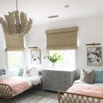 Bedroom, Grey Floor, White Wall, Grey Cabinet, Rattan Bed Platform, Leaves Shaped Pendant, Rattan Shade