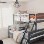 Bedroom, Grey Wooden Bunk Bed, Wooden Floor, White Rug