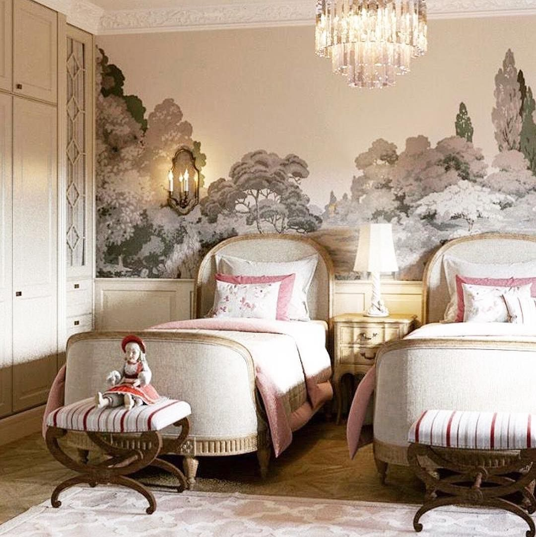 bedroom, patterned floor, wallpaper, chandelier, classic white bed platform, classic white side cabinet
