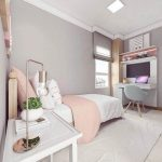 Bedroom, White Floor, Grey Wall, Wooden Bed Platform, Grey Table, Grey Chair, Wooden Side Table,