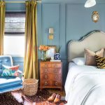 Bedroom, Wooden Floor, Blue Wainscoting Wall, Wooden Side Cabinet, Blue Chair, White Headboard, Yellow Curtain