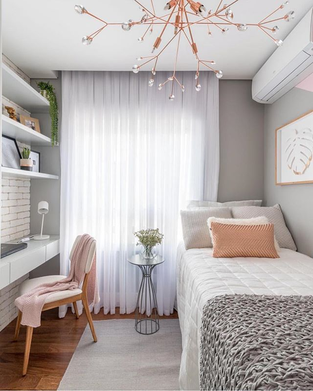 bedroom, wooden floor, white shelves, white floating table, white bed, modern chandelier