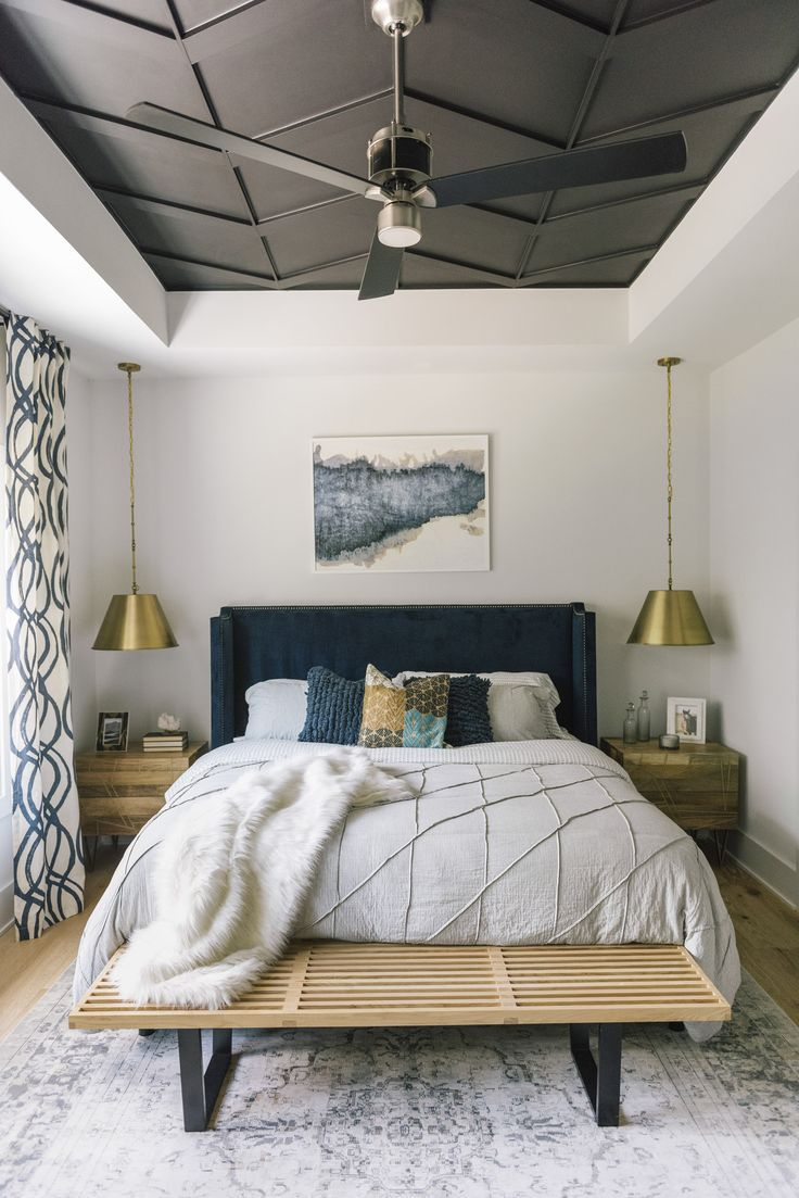 bedroom, wooden floor, white wall, accent ceiling, golden pendants, wooden side cabinet, black headboard, wooden bench