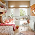 Bedroom, Wooden Floor, White Wall, Brown Shade, White Built In Table, White Shelves, Pink Bedding, White Chair