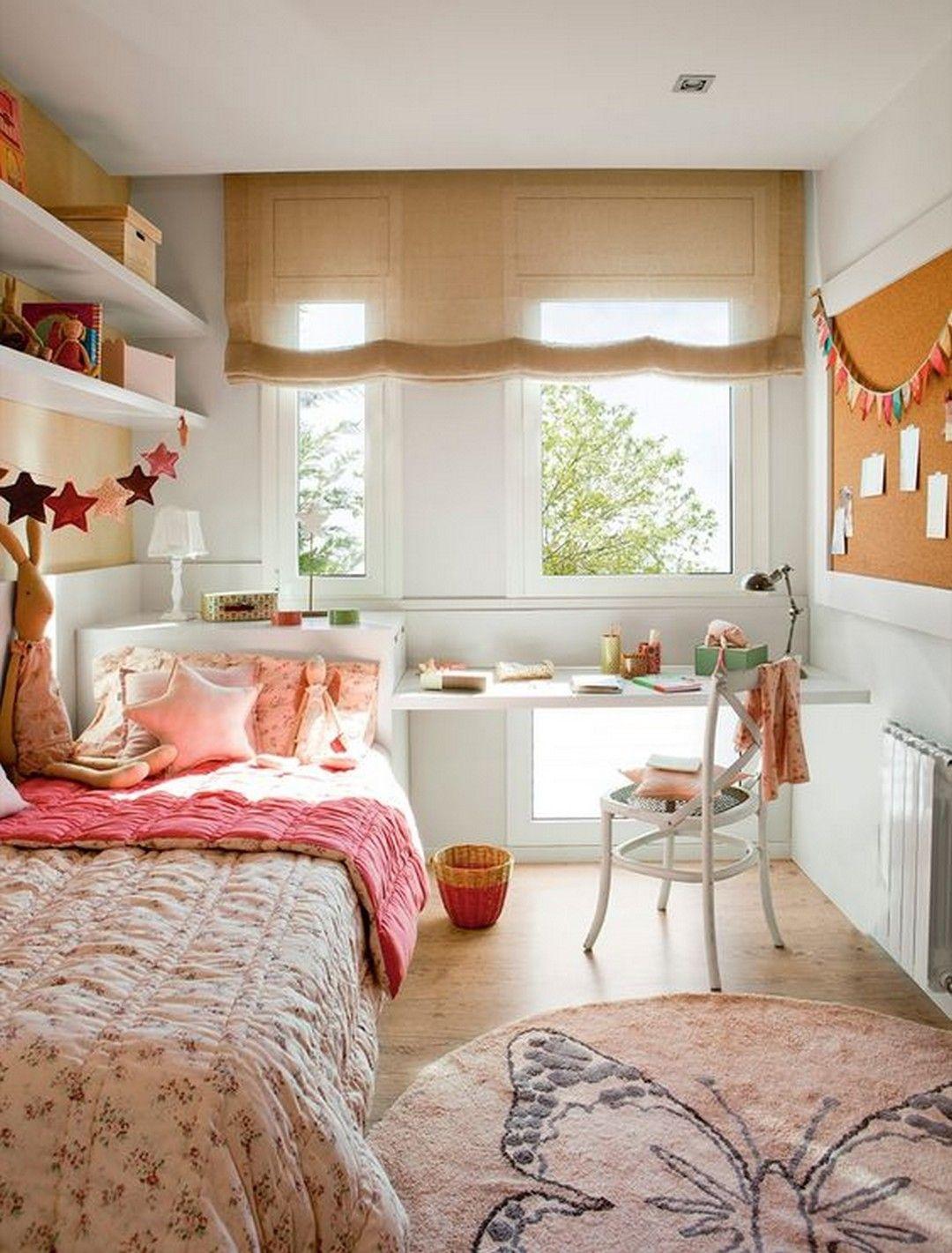 bedroom, wooden floor, white wall, brown shade, white built in table, white shelves, pink bedding, white chair