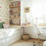 Bedroom, Wooden Floor, White Wall, Flowery Wall, White Bed Platform, Built In Table, White Shelves, Chandelier