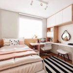 Bedroom, Wooden Floor, White Wall, White Cabinet, White Table, White Bed, Ceiling Lamp